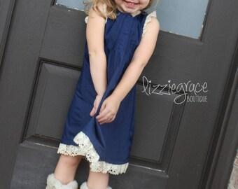 Pintuck Dress, Pintuck & Lace Dress, Navy Dress, Crochet Lace Pintuck Dress, Crochet Lace Dress