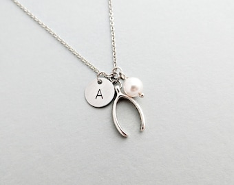 Wishbone Initial Necklace Personalized Hand Stamped - with Silver Wishbone Charm and Swarovski