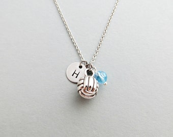 Volleyball Initial Necklace Personalized Hand Stamped - with Silver Volleyball Charm and Swarovski (Initial or Team Number)