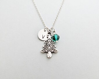 Christmas Tree Initial Necklace Personalized Hand Stamped - with Silver Christmas Tree Charm and Swarovski