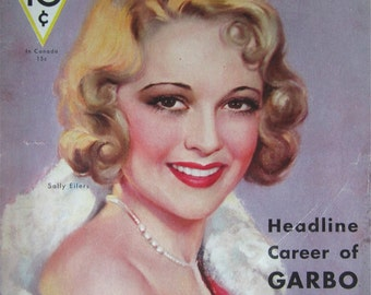 Original August 1932 Sally Eilers Movie Classic Magazine Cover By Marland Stone - Hollywood's Golden Age