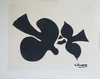 Birds In Flight Silhouette Silk Screen Print By Georges Braque 1882-1963