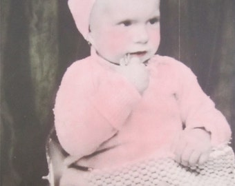 Hand Tinted 1930's Shy Little Baby Girl Studio Photo - Free Shipping