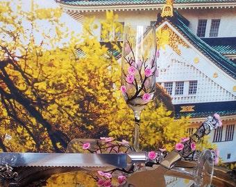 Wedding cake server and knife, Sakura wedding cake accessories, Cherry blossom wedding,  wedding supplies, cake server set, 2 pcs