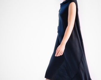 NEW / Black Drape Dress/ Loose Casual Black Dress/ Asymmetrical Sleeveless Dress by AryaSense / DRL15BLK