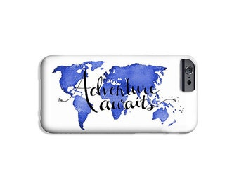 Gifts for Travelers Cell Phone Case Adventure Awaits Travel Case Samsung Galaxy S6 Phone Case iPhone 6 - Travel Quote Art Case Travel Lovers