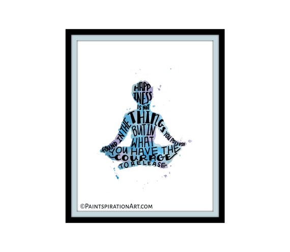 Happiness Quote Print Meditation Art - Inspirational Quote Print Yoga Art Purple and Blue Meditation Decor - Meditation Room Yoga Gifts