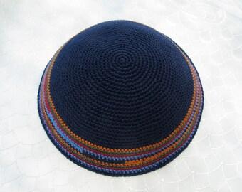 Dark Blue Kippah. Handmade Crochet Kippah. Hand knitting Yarmulke. Dark Blue Yarn of Cotton with Colorful design. Everyday use or Shabbat