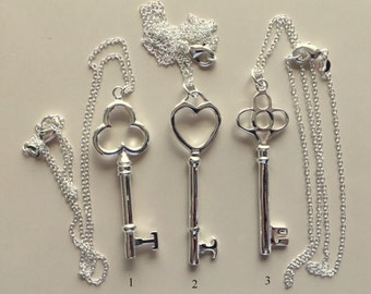 Sterling Silver Key Pendant Necklaces - Large Sterling Silver Key Pendant Necklaces