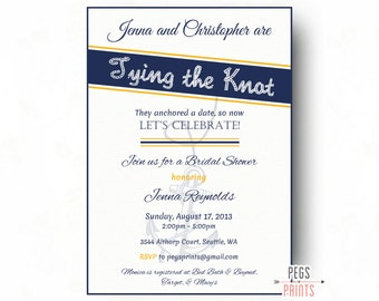 Nautical Bridal Shower Invite - Tying the Knot Invitation (Printable) Nautical Bridal Shower Invitation - Gold Bridal Shower Invitation