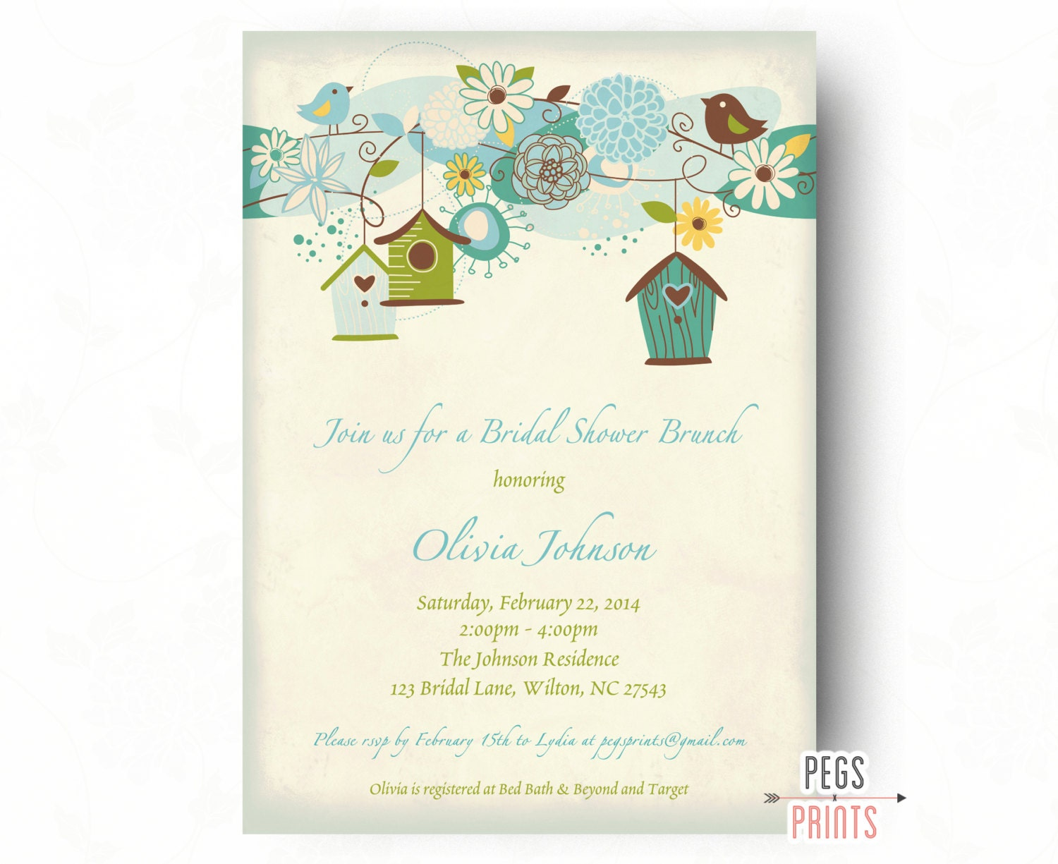 Bridal shower brunch invitation printable bridal brunch for Wedding brunch invitations