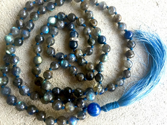 Labradorite Mala Beads, Kyanite, Pave Diamond, Third Eye Chakra Mala Necklace, Intuition, Clairvoyance, Repels Negativity, Healing Mala