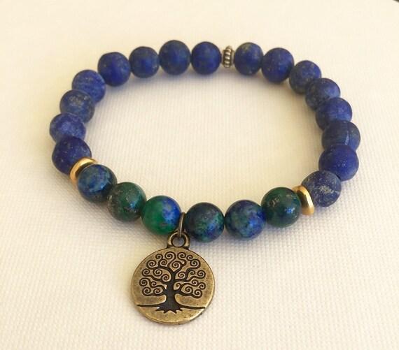 Lapis Wrist Mala Beads,  Azurite, Chrysocolla Mala Bracelet Tree of Life Charm, Unisex Bracelet, Intuition, Third Eye Jewelry, Yoga Jewelry