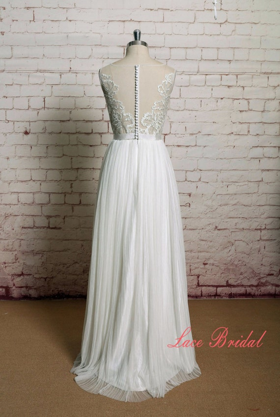 a line wedding gown pleated tulle skirt bridal by