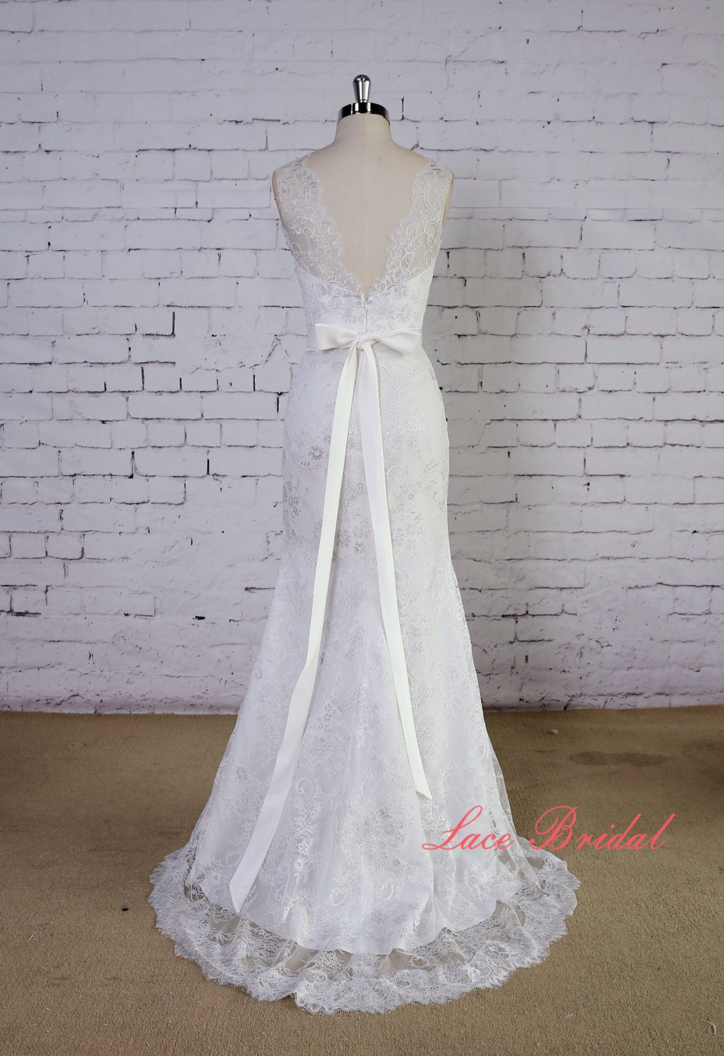 Soft light grey lace wedding gown v back wedding dress mermaid for Light grey wedding dress