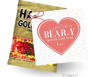 Bear-y Special Valentine | INSTANT DOWNLOAD | Printable Valentines | Gummy Bear Valentine Tags | Girl's Valentines | Valentine Tags
