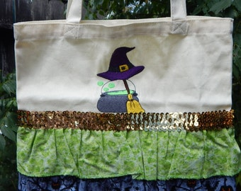 Ruffled Witch's Hat and Cauldron  embroidered Halloween Bag