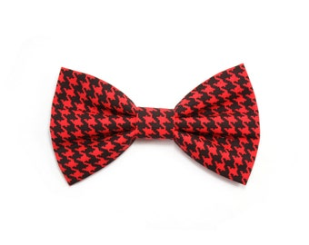 Red Houndstooth Dog Bow Tie Cat Bow Tie Classic Black Dog Bowtie