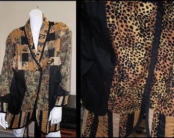 Artsy Animal Print Extended Hem Jacket Coat with Pockets size M/L/XL
