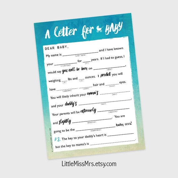 Printable Mad-lib Baby Shower game // A Letter to BABY //  pink watercolor ombre
