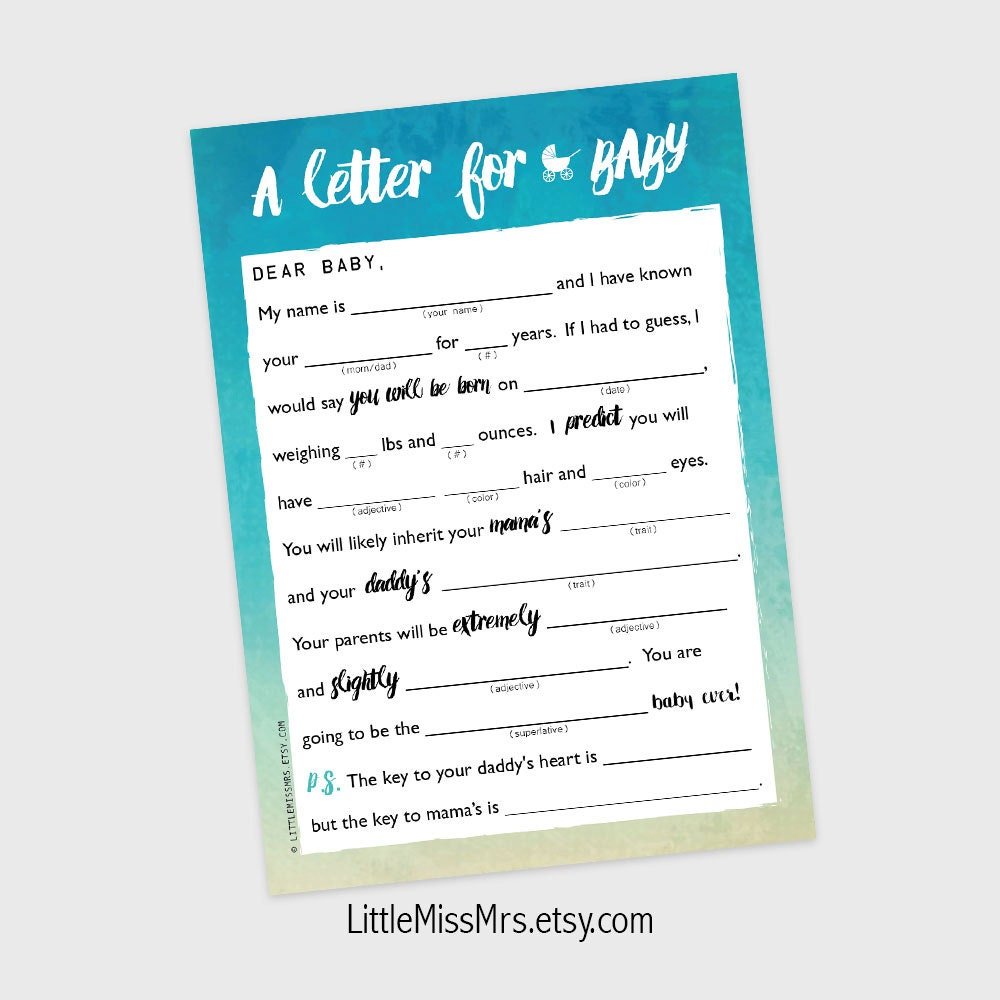 Printable mad lib baby shower game a letter to baby pink printable mad lib baby shower game a letter to baby pink watercolor ombre pronofoot35fo Image collections