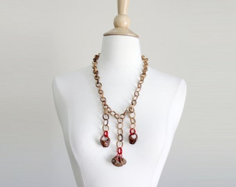 1930s Novelty Peach Pit Chain Necklace