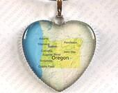 Oregon Map Pendant, Necklace, Heart, State, Gift, Portland, Eugene, Salem, Gresham, Hillsboro, Bend, Beaverton, Medford, Springfield