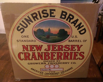 Vintage Original Sunrise New Jersey Cranberry Labels One Barrel Crate