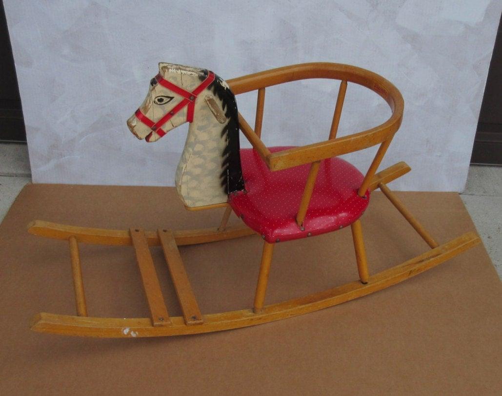 Rocking Horse Seat ~ Vintage wooden rocking horse rocker swing seat chair child kid
