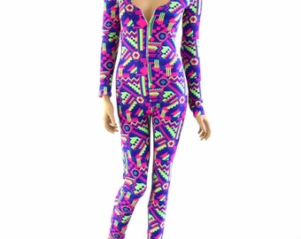 Neon Lime & Purple Aztec UV Glow Zipper Front Long Sleeve Hoodie Catsuit (NO HOOD) Rave Festival Burning Man 152872