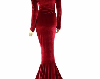 Bewitching Long, Red Velvet Gown with Scoop Neckline, Long Sleeves and Puddle Train La Muerta La Muerte  -151547