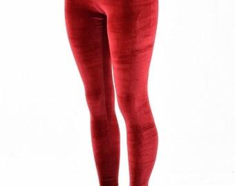 Red Stretch Velvet High Waist Leggings  151908