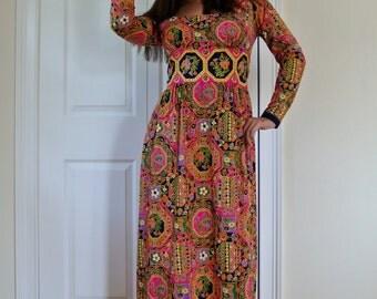 Vintage 70s Hippie Boho Maxi Dress Ethnic Festival Goddess Prairie Gown S/M