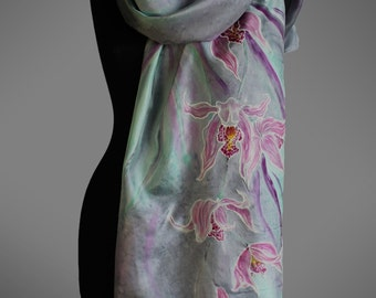 Hand-painted silk scarf. Orchid silk scarf. Floral silk scarf. Light grey and pink scarf. Large silk scarf. Made to order.