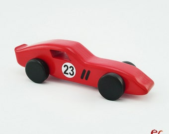 Red Wooden Toy Car, Wooden Car for kids, boys, Classic Race Car, Inspired by Ferrari 250GTO