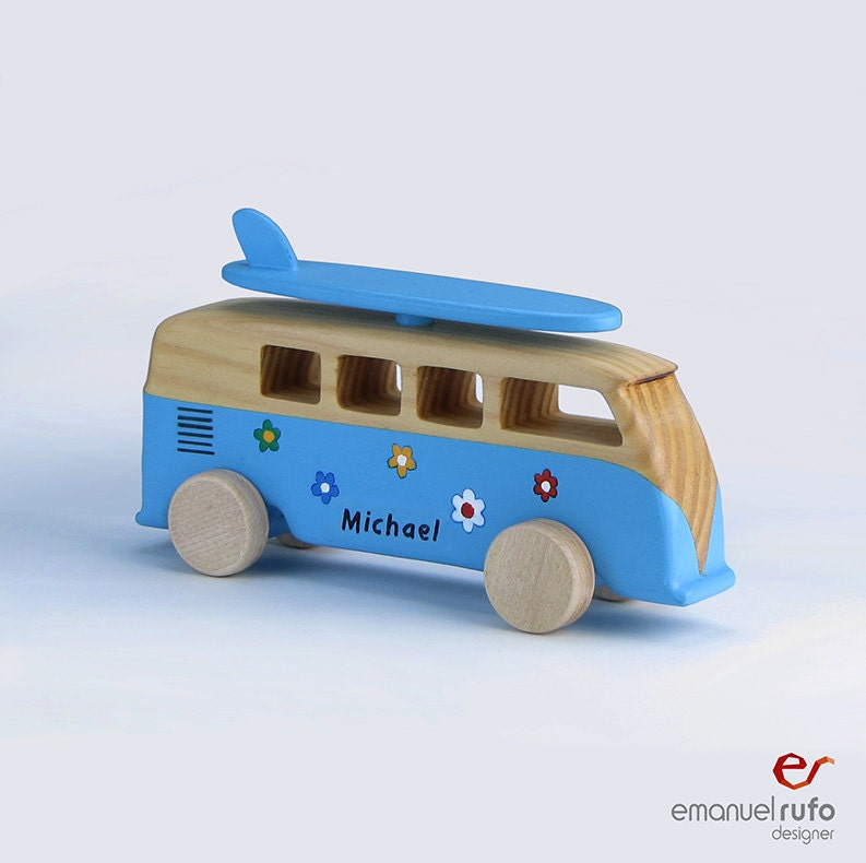 Wooden Toys For Boys : Wooden bus toy personalized car for boys