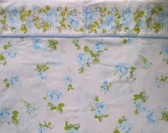 Texmade Truprest White & Blue Rose Floral Print Twin Single Size Flat Bed Sheet
