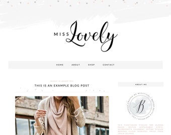 "Blogger Template Blog Theme ""Miss Lovely"" // Simple Blog Theme // Blogger // Pre-made Blog Design"