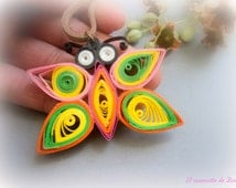 Colorful butterfly paper quilled  pendant, colorful pendant, butterfly pendant, paper quilling jewelry, nature pendant, pendant eco friendly