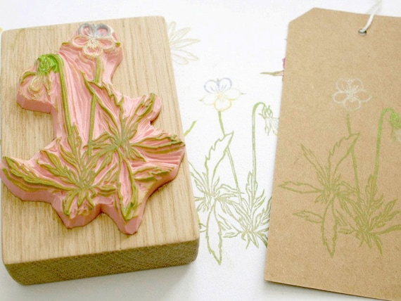 Pansy hand carved rubber stamp by the little store