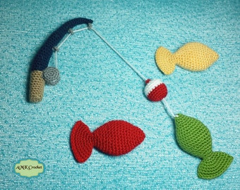 PDF Crochet Pattern - Crochet Fishing Pole with Bobber and Amigurumi Fish Photo Prop, Fisherman Photography Prop Instant Download Pattern