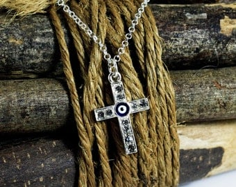Silver Cross Necklace, Evil Eye Talisman Necklace, Blue Evil Eye Rhinestones Cross Charm, Eye Jewelry