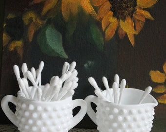 Q Tips and Tooth Pick Holder Set. Milk Glass Hobnail Tooth Pick Holder and Q Tips Holder shaped as Sugar Bowl and Creamer with Handle.