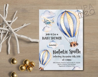 Hot Air Balloon Baby Shower Invitation Printable, Boy Baby Shower Invitation, Printable Baby Shower Invitation, Air Balloon Invitation lipa