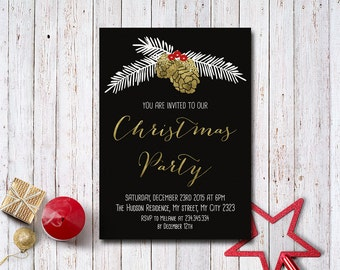 Christmas Invitation Printable, Christmas Party Invitation, Holiday Party Invitation, Printable Holiday Invitation, Pinecone Invitation