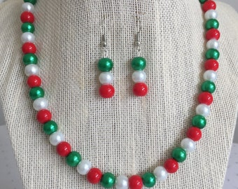 Christmas Wedding Jewelry, Red and Green Necklace Set, Bridesmaid Jewelry Gift, Holiday Jewelry Set, Multicolored Jewelry Set