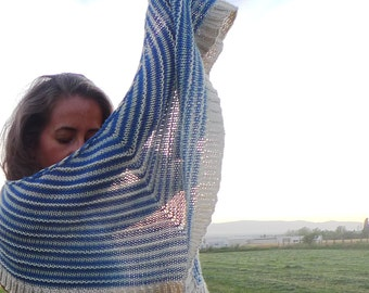 alegrías, striped knitted shawl