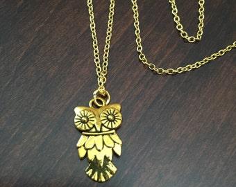 owl necklace, owl jewelry, owl pendant, owl, owls, gold owl necklace, gold owl, small owl, small owl necklace, small gold owl, necklace