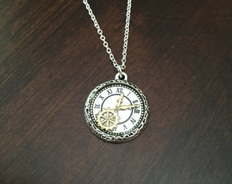 clock necklace, clock pendant, clock jewelry, watch necklace, watch pendant, watch jewelry, silver clock necklace, clock, watch, necklace
