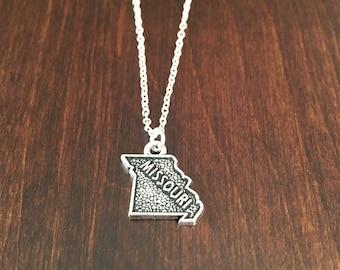 Missouri Necklace, Missouri, Missouri jewelry, Missouri pendant, silver Missouri necklace, state necklace, state, necklace, silver necklace